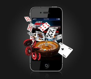 Smartphone Betting Chips Cards And Roulette Wheel-min